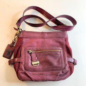 Tignanello Merlot Leather & Suede Crossbody Purse